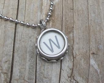 Initial W Vintage Typewriter Key Necklace
