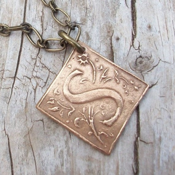 Bronze Wax Seal Initial Necklace  Revival Design