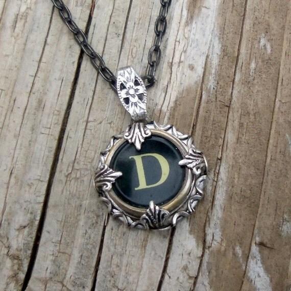 Letter D  Vintage Typewriter Key Wrap Necklace