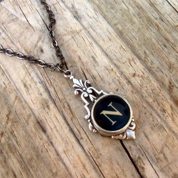 Letter N  Vintage Typewriter Key Drop Necklace