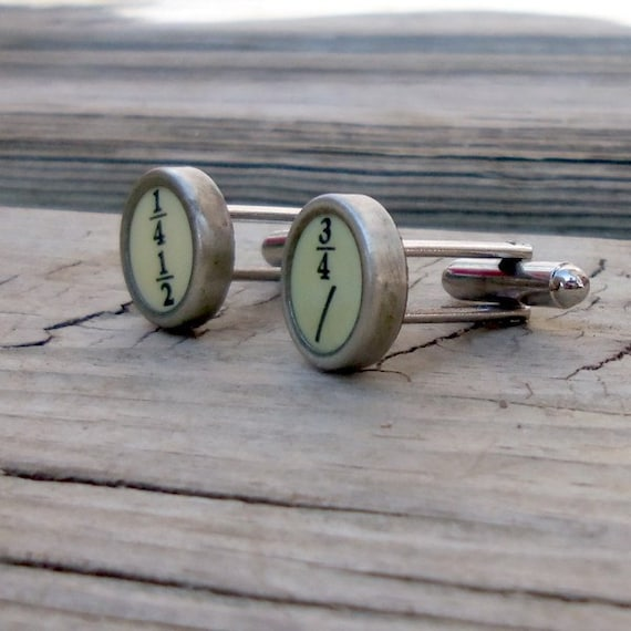 Yellow Fractions Vintage Typewriter Key Cuff Links