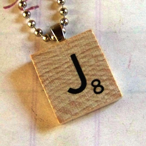scrabble tile necklace letter j