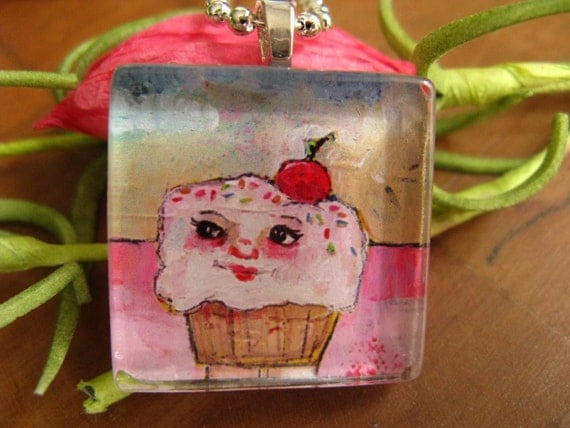 Mrs. Sprinkles.........glass tile necklace