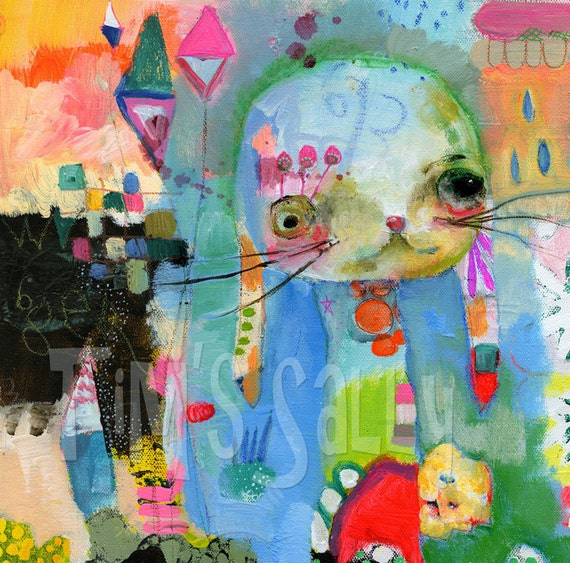 bunny mixed media art print by Mindy Lacefield - TOODLES