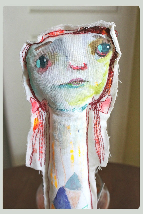 primitive art doll - Sarah - original stuffed doll by timssally