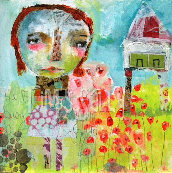 raw art - FIELD of RED POPPIES - mixed media original by Mindy Lacefield