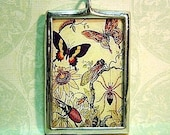 Vintage Nature Bugs and Butterflies Glass Pendant
