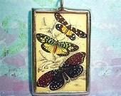 Colorful Vintage Butterflies Nature Glass Pendant Charm