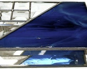 Stained Glass Jewelry Box, Blue With Beveled Corner