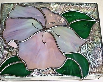 Stained Glass Jewelry Box Hibiscus 1