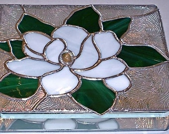STAINED GLASS Jewelry BOX Magnolia