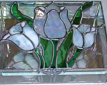 Stained Glass Jewelry Box Tulip Time