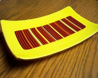 Fused Fall Dish Yellow with Colorful Pattern Bar