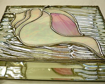 Stained Glass Jewelry Box   Conch Shell