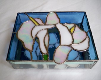 STAINED GLASS Jewelry BOX Calla Lily