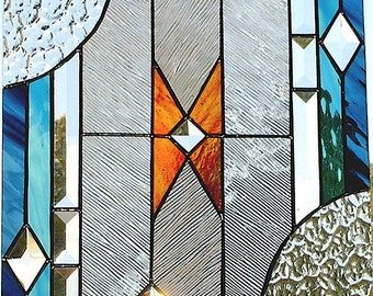 Stained Glass Window Panel, SW Contemporary, Custom-made-to-Order