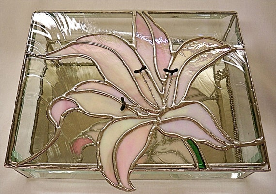 Stained Glass Jewelry Box, Pink Lily