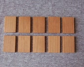 Cherry Wood Tiles, Wooden Rectangles Set of 10 - Perfect for Pendants and Charms