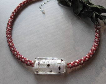 Strawberry Parfait Kumihimo Necklace