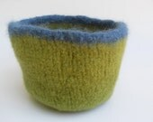 Hand Knit and Felted Bowl Leaf Green and Blue