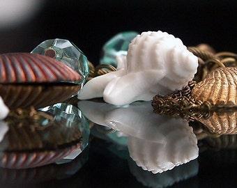 SEASHELL Charm bracelet - Sea shell Charm Bracelet 'ROCKPOOL'  Vintage Charm Bracelet - Old Brass Charm Bracelet - Sea Blue Aqua