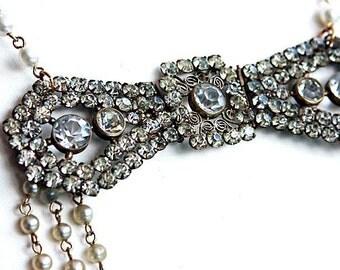 Antique handmade Necklace 'MISS HAVISHAM' Antique Statement Bib Necklace, Pearl Necklace