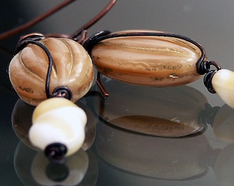 Earrings, Handmade, Bakelite, Celluloid 'TOFFEE PECAN CRUNCH' Hand Wired Earrings