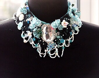 Necklace, Choker Necklace, Bib Necklace, Blue Black Repurposed Jewelry  'SCHEHERAZADE' Assemblage and Mix Media art jewelry