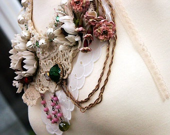 OPHELIA Statement Bib Necklace, Part Of My RAGDOLL COLLECTION, Mori Girl Romantic Vintage Bohemian Shabby Chic