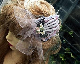 Barrette, Hair piece, Fasinator, Slide  Vintage Lace and Cottons 'CORPSE BRIDE from Katherine Cooper's 'RAGDOLL' Collection