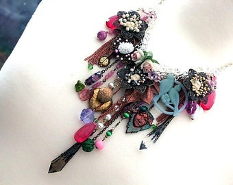 Statement Necklace, Vintage Charm Necklace chains, Assemblage  Necklace swags and drapes 'BABES In The WOOD' Emo Girl, Mori Girl Necklace