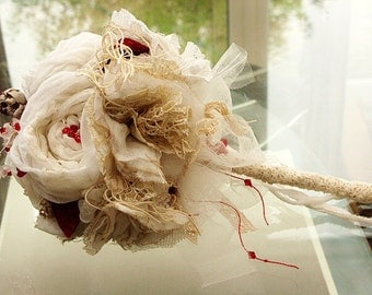 Wedding Bridal Bouquet Vintage Fabric 'RAGDOLL' Bridal Bouquet With Red Velvet Strawberries