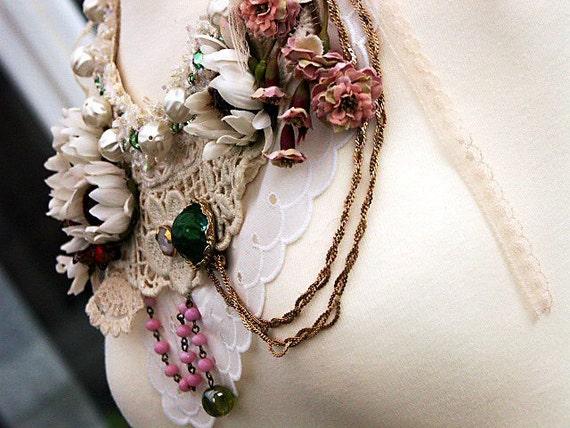 OPHELIA Statement Bib Necklace, Part Of My RAGDOLL COLLECTION, Mori Girl Romantic Vintage Bohemian Shabby Chic