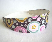Wide Fabric Headband in Chocolate Brown with Flowers