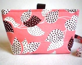 Makeup Bag and Skinny Headband in Coral Pink, Chocolate Brown and White Leaf Fabric