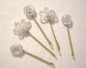 Set of 5 Beaded Hair Pins in Fans and Knots Clear Silver