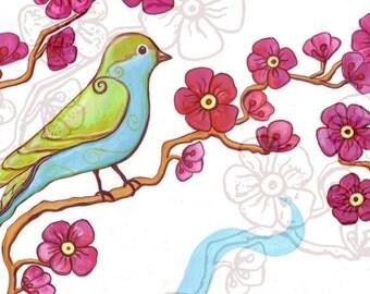 cherry blossoms, ceramic art tile