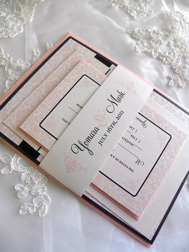 Black and Blush Pink Damask Wedding Invitation Set by citlali