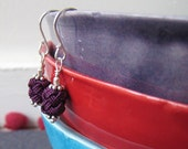 SALE Textile jewelry - sterling silver earrings with purple moroccan fabric bead