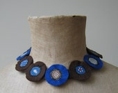 Textile jewelry - small brown and blue felt and fabric artistic necklace