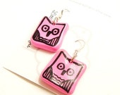 Pink Owl dangle earrings - Screen printed style - Matte finish