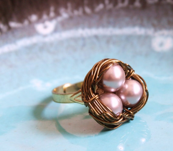 Lavender  Nest Egg Wire Wrapped Adjustable Ring, Mother, New Mom, Nature Inspired Wedding, Bridesmaid jewelry