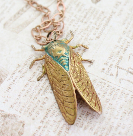 Raw Brass Cicada Pendant Necklace with Turquoise Verdigris Patina