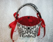 Madison Black and White Damask Flower Girl Basket/Purse - Accented in Red - MADE TO ORDER ONLY