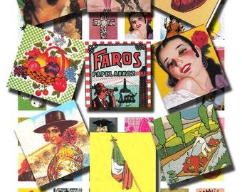 vintage Mexican icons, 'Hecho en Mexico', 'Dia de Los Muertos', made in Mexico, a 1x1 inch printable collage sheet  no. 50
