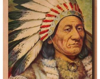 Vintage Sitting Bull illustration, chief of Dakota Sioux Indians, digital download no.  282