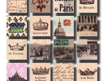 French Crowns, Fleur de Lis, et le Tour Eiffel, in 1x1 inch squares, digital collage sheet no. 525
