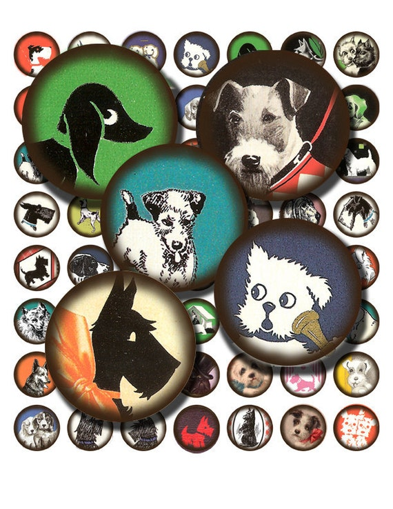 1 Inch Circles Vintage Dog Illustrations Digital Collage Sheet  no. 350