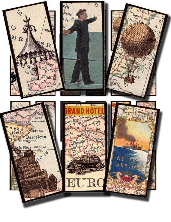 vintage travel collage sheet, in a  1 by 2 inch domino rectangle size, printable digital image  no. 184