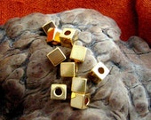 20 Gold Plated Cube Beads - Custom order for Koucamanda